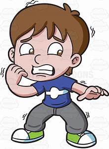 A Nervous And Scared Boy Cartoon Clipart - Vector Toons