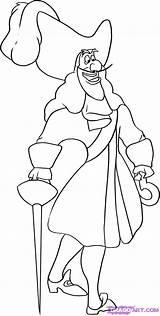 Hook Captain Pan Peter Coloring Pages Step Draw Desenhos Para Colorir Disney Printable Drawing Cartoon Imprimir Pintar Pans Moldes Riscos sketch template