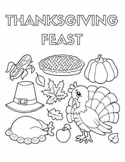 Thanksgiving Coloring Pages Dinner Feast Sheets Drawing
