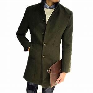 Men's Long Woolen Coat Winter Wool Men's New Autumn and ...