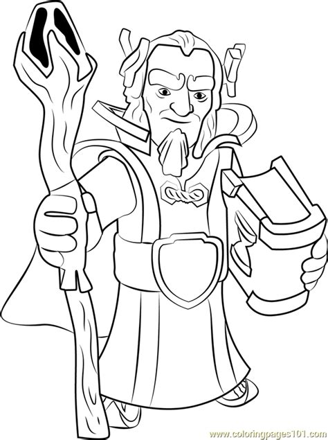 grand warden coloring page  clash   clans