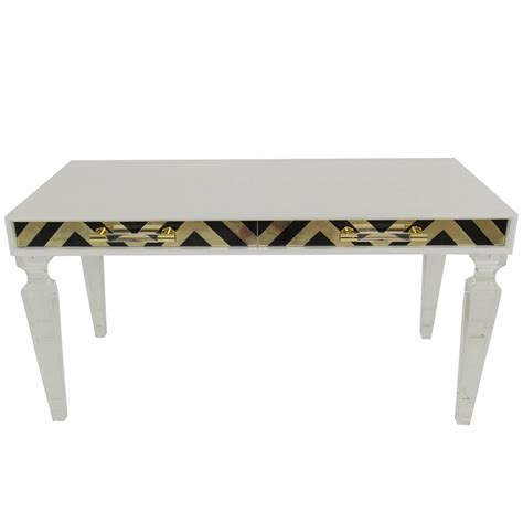 white desk with gold legs white desk in black and gold with lucite legs for sale at