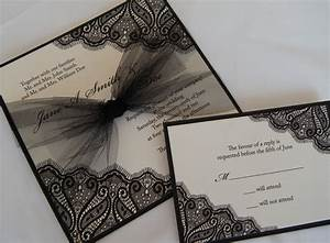 elegant black ivory wedding invitation tulle bow onewedcom With black and white bow wedding invitations
