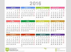 2016 Year Annual Calendar Monday First, English Stock