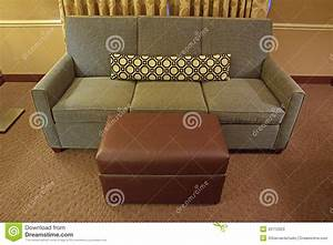 Grey fabric sofa with brown leather ottoman and long for Long island sectional sofa grey fabric