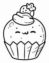 Coloring Cupcake Kawaii Pages Printable Pdf sketch template