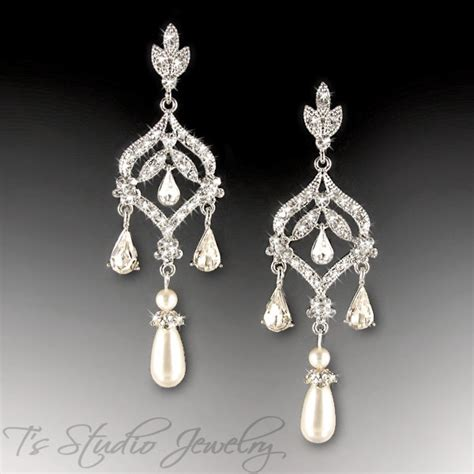 pearl chandelier earrings ivory or white pearl bridal chandelier cz earrings