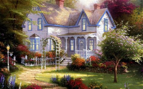 art painting painting garden arch front home garden summer