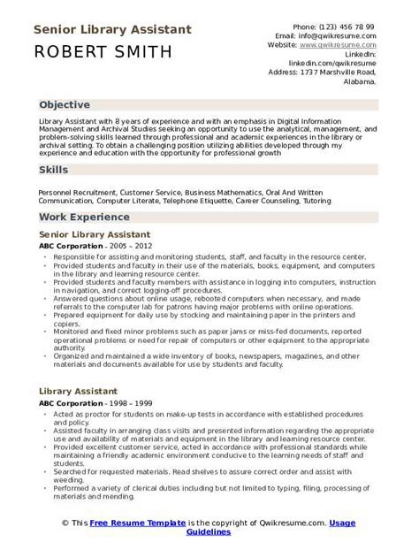 Resume Library by Library Assistant Resume Sles Qwikresume