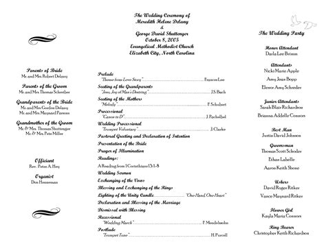 wedding itinerary templates free wedding program sle template as doc projects