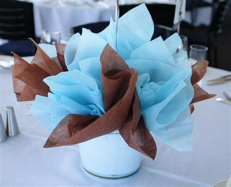 baby blue and brown bathroom set table baptism centerpieces blue brown table centerpiece
