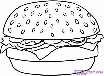 Hamburger Draw Step Coloring Drawing Pages Drawn