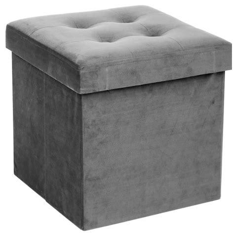 pouf velours gris coffre de rangement pliable ac deco