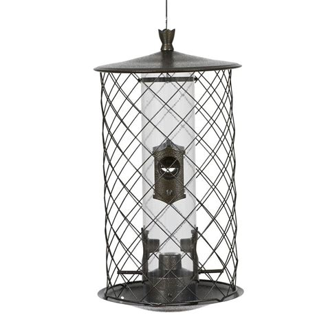 squirrel proof bird feeder home depot preserve feeder squirrel proof bird feeder metal finish
