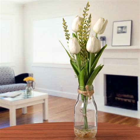 Glass Vase Arrangements by National Tree Company White Tulip Arrangement In Glass