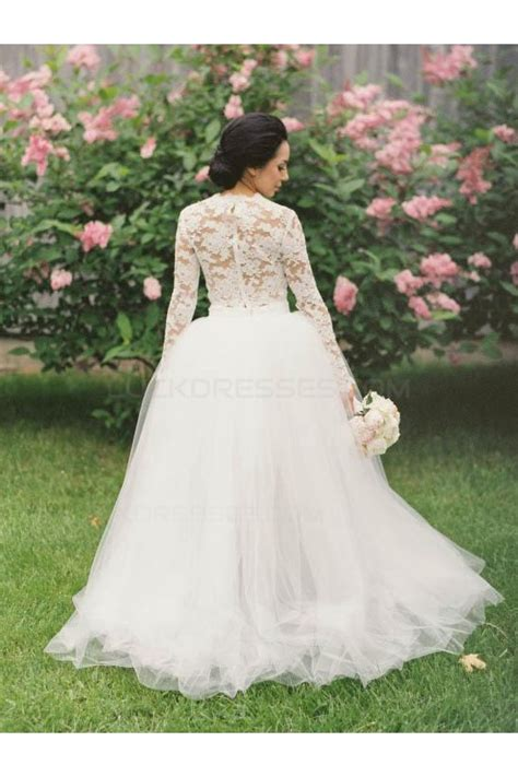 pieces long sleeves lace tulle wedding dresses bridal