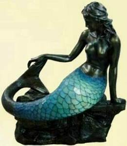 Large art deco bronze mermaid tiffany floor standing lamp for Bronze mermaid floor lamp