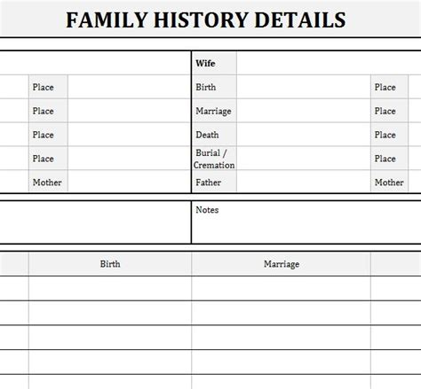 family history records  excel templates