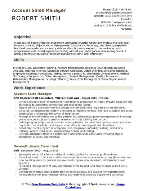 account sales manager resume sles qwikresume