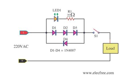 mains voltage indicator   led electronic projects