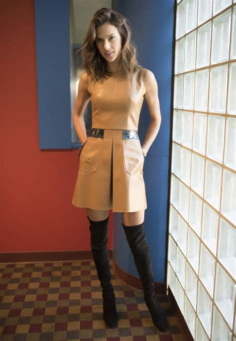 Alessandra Ambrosio In A Sexy Leather Minidress Popsugar
