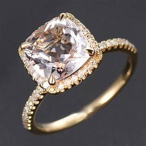 150 carat cushion cut peach pink morganite and diamond for Diamond wedding rings on sale