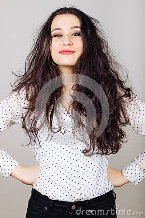 Brunette Woman With Messy Hair Stock Photo  Image 54940542