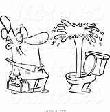 Plumber Cartoon Toilet Coloring Drawing Geyser Clipart Leishman Vector Admiring Outlined Ron Promotion Tools Corporate Marketing Royalty sketch template