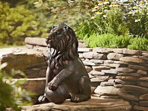 30in Lion Statue  Outdoor Living  Outdoor Decor Lawn