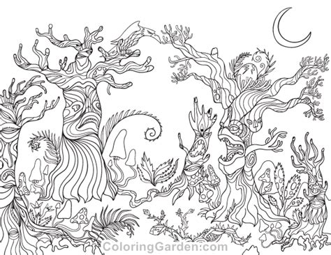 printable spooky forest adult coloring page