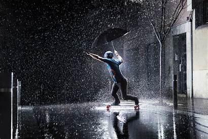 Rain Skateboard Under Rains Manawa Rainy Activities