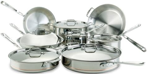 clad   piece copper core cookware set   ply stainless steel polished surface