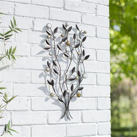 Garden Decorations Ebay by Garden Metal Wall Decor Leaf Bunch 64cmh Patio Indoor