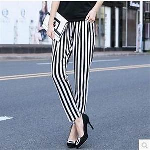 Large size vertical stripe haren pants having pockets leggings womenu0026#39;s loose casual ninth pants