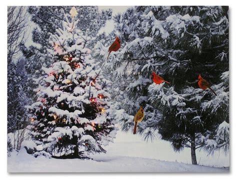 christmas tree cardinal birds led canvas print