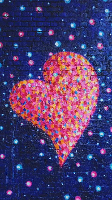 wallpaper love heart graffiti colorful neon hd