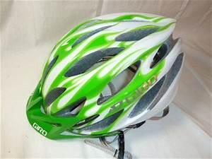 Giro Athlon White Lime Green Flames Bicycle Helmet LG