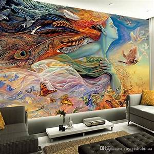 Spirit of flight photo wallpaper fantasy art paintings for Best brand of paint for kitchen cabinets with art deco wall murals