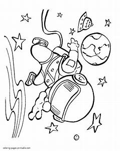 Astronaut Outer Space Coloring Page - Free S Space