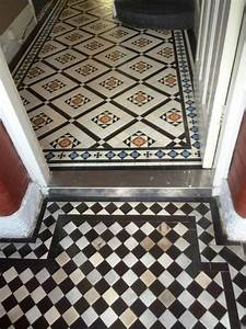 Very dirty victorian tiled hallway cleaned and sealed in for Victorian lino flooring