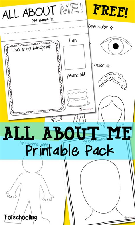 all about me free printable pack totschooling toddler 407 | All About Me Pack