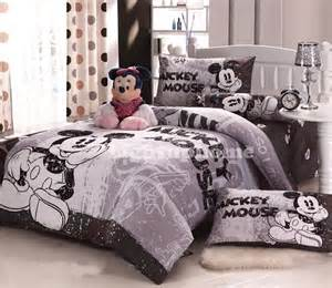 grey mickey mouse bedding fitted sheet and comforter cover disney bedding sets