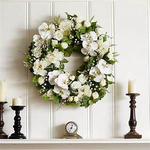 White, Real, Touch, Orchid, Peony, U0026, Rose, Spring, Summer, Front, Door, Wreath