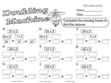 split and machine a year 4 doubling halving