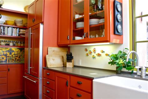 orange kitchen cabinets beautifully colorful painted kitchen cabinets