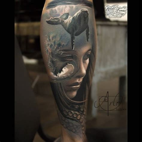 under trash can abstract ocean realism tattoo best tattoo ideas gallery
