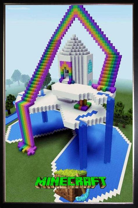 minecraft craft ideas minecraft silk poster rainbow paradise 4962