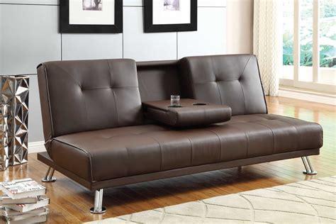 Vinyl Sofa Dark Brown Vinyl Sofa Bed W Pull Down Table
