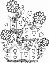 Birdhouse Garden Coloring Pages Fairy Bird Drawing Houses Adult Birds Adults Colouring Detailed Sheets Gardens Drawings Fantasy Books Da Cartoon sketch template