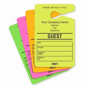 guest parking passes customize online With hanging parking pass template
